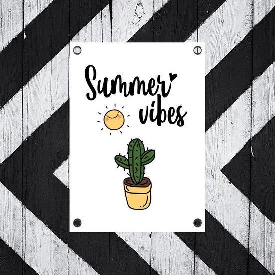 bijStip Tuinposters Buiten Tekst Summer Vibes Cactus - Zwart Wit Groen en Geel - 80 x 60 cm