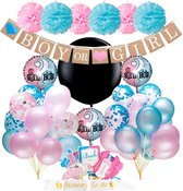 Gender Reveal Versiering Feest Pakket met fotoprops, slingers, confetti ballonnen en gender reveal ballon voor Decoratie Babyshower geboorte kind Baby Shower Jongen of Meisje