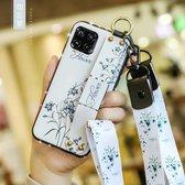 Voor Huawei Nova 6 SE Bloemendoekpatroon Schokbestendig TPU-hoesje met houder & polsband en neklijn (wit)
