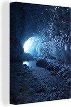 Ingang van de blauwe Vatnajökull ijsgrot Canvas 30x40 cm - klein - Foto print op Canvas schilderij (Wanddecoratie woonkamer / slaapkamer)
