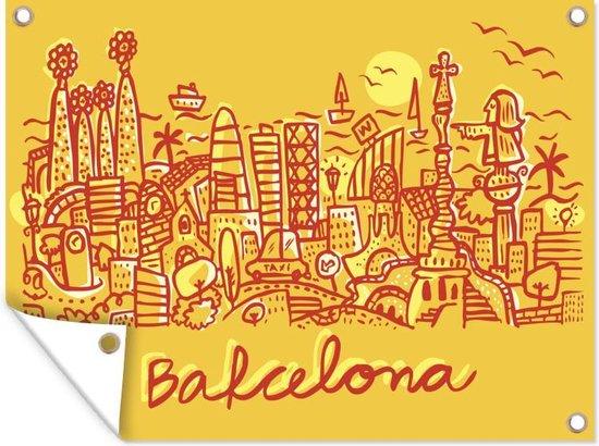 Een illustratie van Barcelona tijdens de zonsopkomst tuinposter 160x120 cm - Tuindoek / Buitencanvas / Schilderijen voor buiten (tuin decoratie) XXL / Groot formaat!