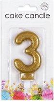 Cijfer kaars glitter goud nr. 3