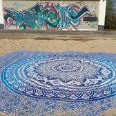 GROOT XXL STRANDLAKEN 100% KATOEN 240X210CM   Turquoise blauw Mandala strandkleed  strand kleed strand laken strandlaken roundie tafelkleed Ibiza yoga kleed