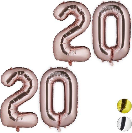 relaxdays 2x folieballon getal 20 - luchtballon folie ballon - XXL cijferballon - rosegoud