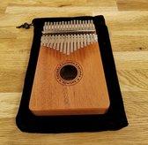 Kalimba Duimpiano met 17 Tonen + Accessoires - Stemhamer - Toets Stickers - Duimbeschermers - Reinigingsdoekje - Handleiding - Opbergzak - Mahonie Hout - Mbira - Muziekinstrument 17 Toetsen - Makkelijk te Bespelen - Complete Set - Voor Jong en Oud