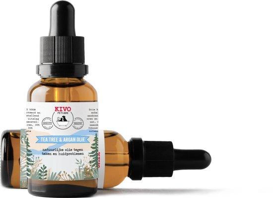 Kivo Petfood tekenmiddel (niet voor katten) - Tea tree & argan olie mix. Natuurlijk middel tegen teken en vlooien, verzorgend voor plekjes op de huid.