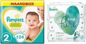 Pampers Premium Protection Maat 2 – 124 Luiers Maandbox + Pampers Pure Aqua Billendoekjes 420 Stuks