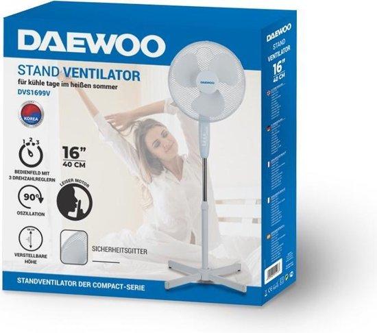 DVS1699V - Zelfdraaiende Statiefventilator 3 standen - 50 Watt Fluisterstille Staande Ventilator - Wit