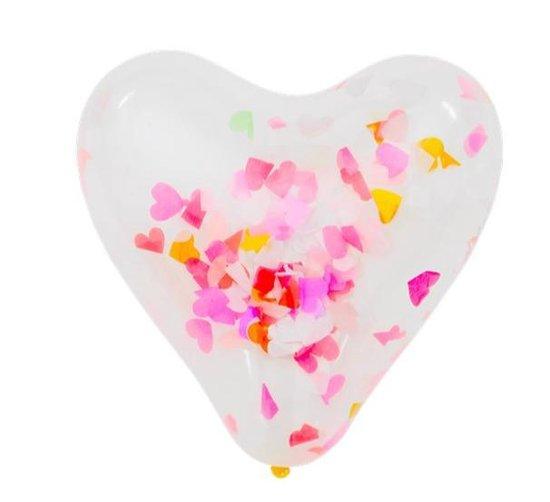 Hartvormige ballonnen met confetti in  6 stuks  30cm dia.  s