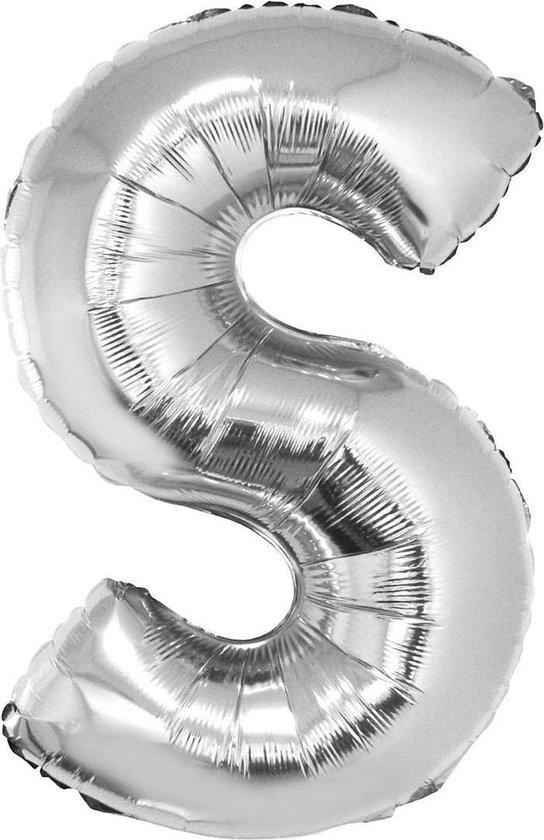 Grote folie ballon letter S Zilver