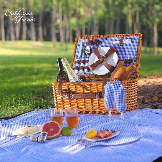 Picknickmand 28 delig met Koelvak - inc. servies en bestek - Picknickset voor 4 pers.