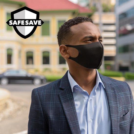 SAFESAVE mondkapjes wasbaar en herbruikbaar-100% neopreen mondkapje-niet medisch mondmasker-3 stuks-Zwart