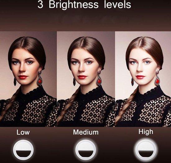 Memo Stijl Selfie Ring Flash Light voor Smartphone Frontcam Wit