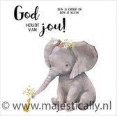Cadeaubordje 15x15cm - Olifant - God houdt van jou - 2 stuks