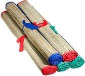 Beach mat | strandmatje| yoga mat | riet | 175 x 60 cm | oprolbaar | blauw