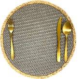 Lucy's Living Luxe Placemat HYA grijs – ø38 cm - tafelaccessoires – koken  – wonen – onderzetter – rond