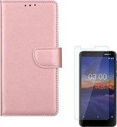Nokia 3.1 Portemonnee hoesje Rose Goud met 2 stuks Glas Screen protector