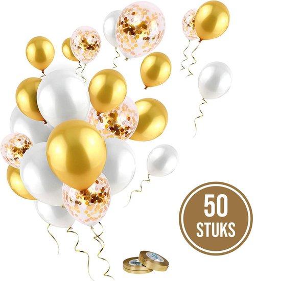 Partizzle® 50x Helium Latex Confetti Ballonnen Versiering - Verjaardag Bruiloft 50 Jaar Feest - Goud