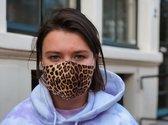 Herbruikbare Mondkapjes met elastiek | Luipaard bruin | Wasbaar gezichtsmasker | Face Mask |Mondmasker | 100% Katoen | Niet-Medische| Dubbel-laags | Volwassenen | Zacht elastiek