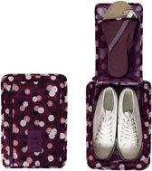 Waterdichte Schoenen Tas met Handvat - Reizen Accessoires - Schoenen Opbergtas - Schoenen Organizer - Opslag en Opbergen Schoenen - Bordeaux Rood met Bloemetjes