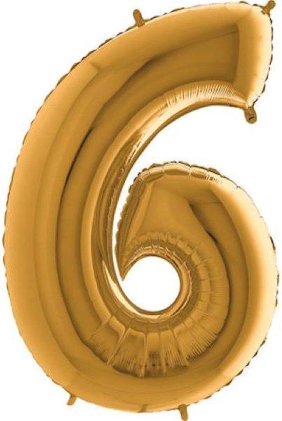 Grabo Balloons - Folieballon - cijfer 6 - goud - 66cm