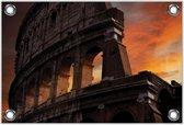 Tuinposter–Colosseum met Zonsondergang– 90x60 Foto op Tuinposter (Wanddecoratie voor buiten en binnen)