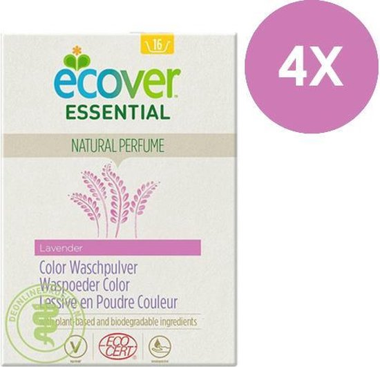 Ecover Essential Waspoeder Kleur- Lavendel - 4 x 1.2kg - Voordeelverpakking