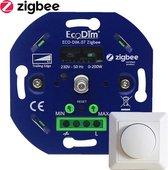 Zigbee Smart Dimmer - Smart LED dimmer met druk- draaischakelaar - Inclusief afdekraam - Ecodim