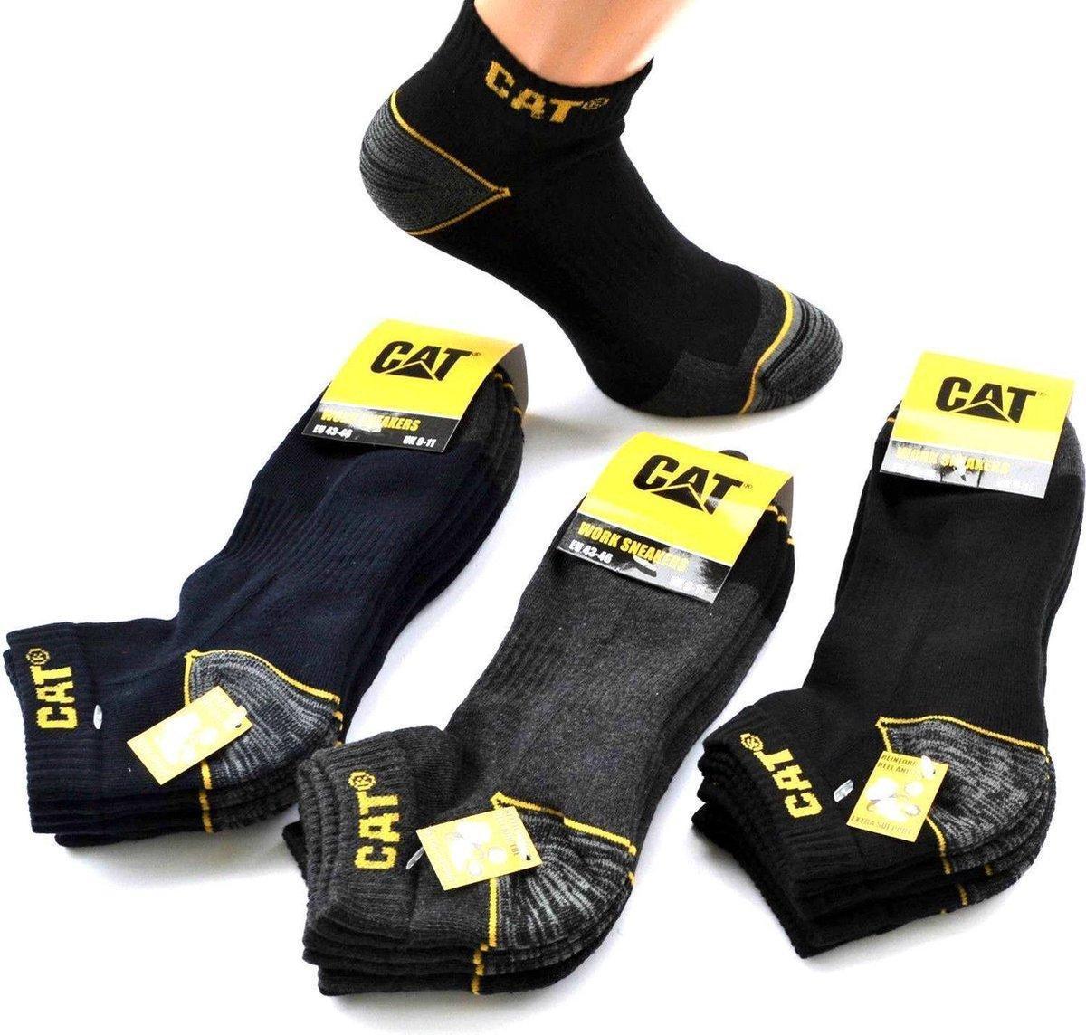 CAT Sneaker werksokken maat 43-46 - 3PACK - ZWART