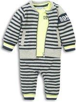 Dirkje - 3 pce Babysuit - Navy + grey melee + neon yellow - Mannen - Maat 62
