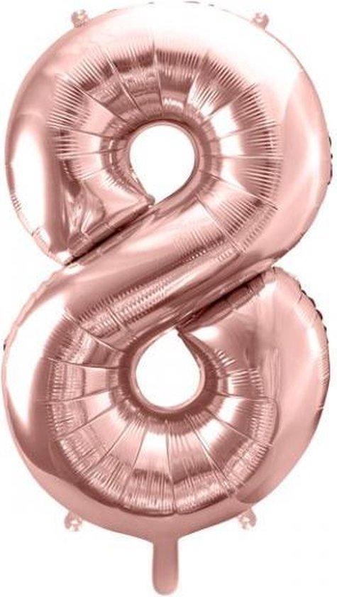 Folieballon Cijfer 8 – 8 Jaar – 86cm Groot Ballon – Rosé Goud - Verjaardag Versiering