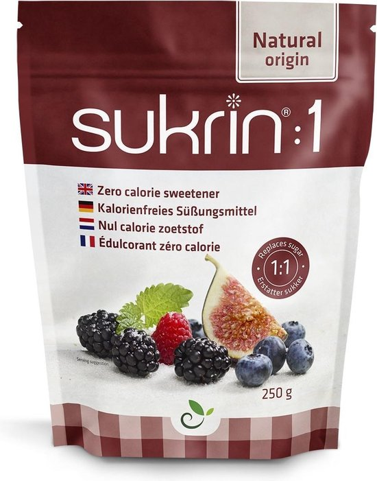 Sukrin:1 (250 gram) - Bevat Erythritol - 100% natuurlijke suikervervanger - Zonder calorieën
