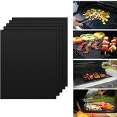 4 BBQ matten  - 4 Grill matjes voor de BBQ - Grill matten - Op maat knippen - Oven matten - Oven beschermer - Anti Aanbak - Gemakkelijk te reinigen - Vis op de BBQ - Oven beschermer - Teflon Grillmat - Herbruikbaar - Afmeting 40x33 cm Zwart
