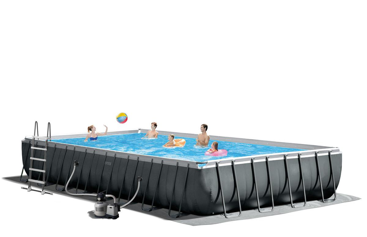 Intex opzetzwembad - Ultra XTR antraciet - (lxbxh) 975 x 488 x 132 cm - inclusief accessoires