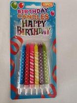 Taart - Verjaardags - kaarsjes in 6 vrolijke kleuren