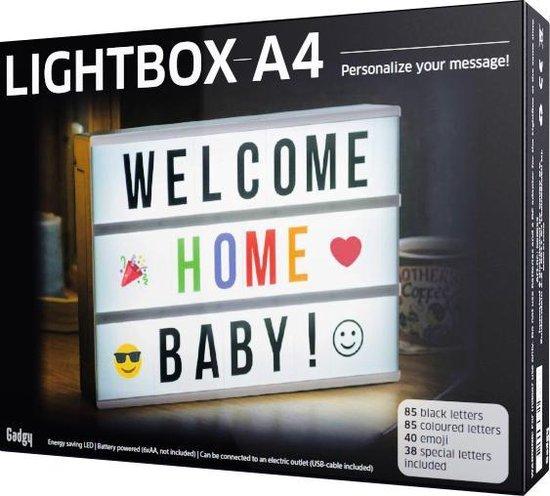 Gadgy Lightbox A4 - met 85 gekleurde letters + 85 zwarte letters + 40 emojis + 38 speciale letters met leestekens – 30 x 22 x 6 cm. - met USB kabel