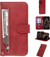 Voor huawei nova 5 / nova 5 pro mode kalf textuur rits horizontale flip pu lederen tas, met houder en kaartsleuven en portemonnee (rood)