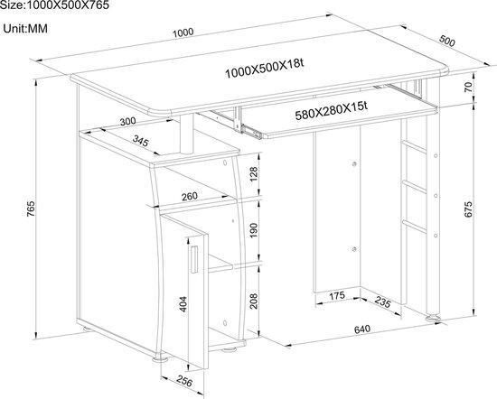 Piranha ELVER Bureau / Computerbureau - Donker Walnoot - Opslagkast - PC 1 - Piranha Furniture