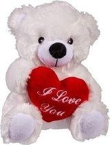 Valentijnsdag knuffelbeertje I love you wit - Pluche teddybeer met hartje