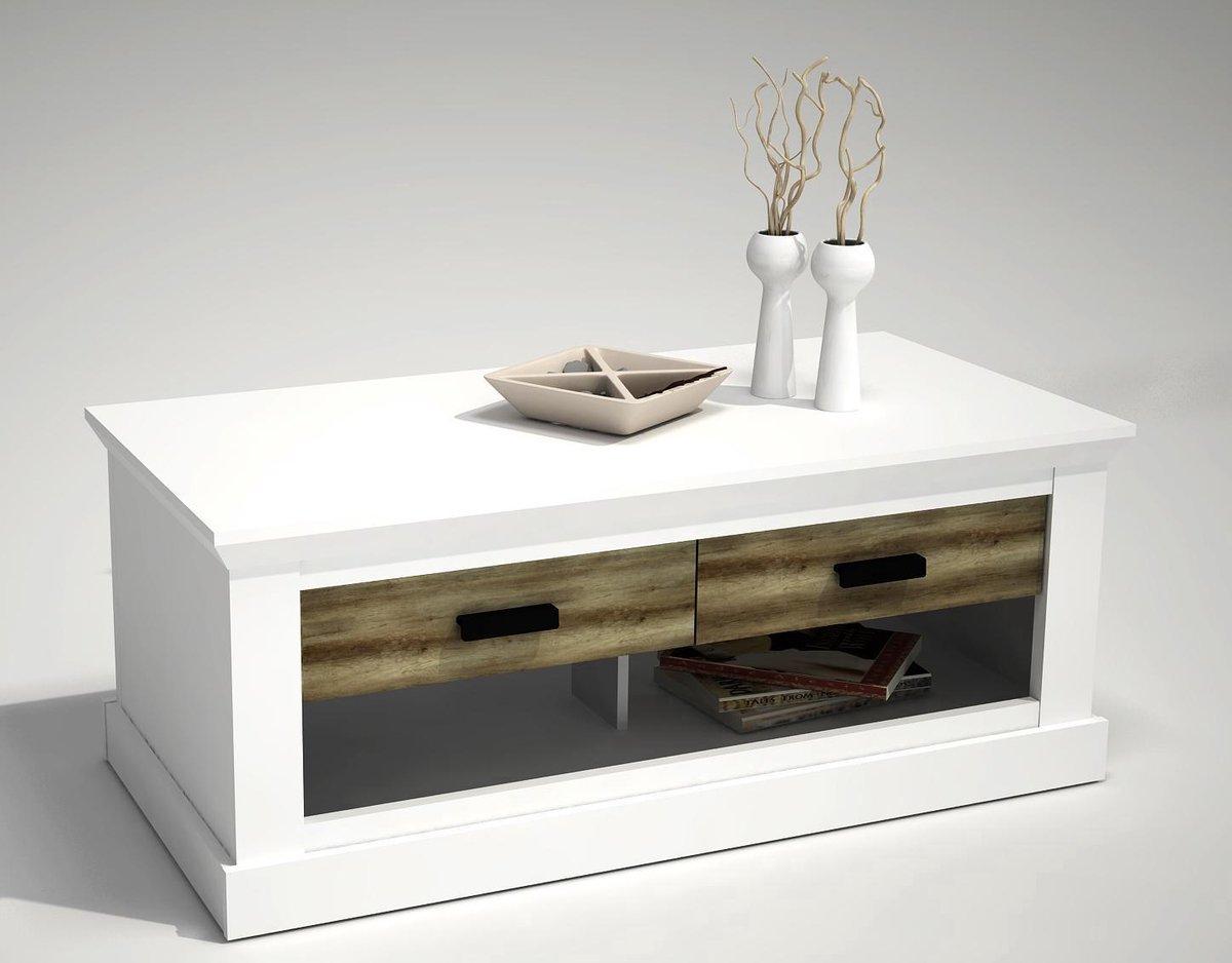 Wit gepatineerde salontafel met 2 lades in grey wash Oregon - Fineliving