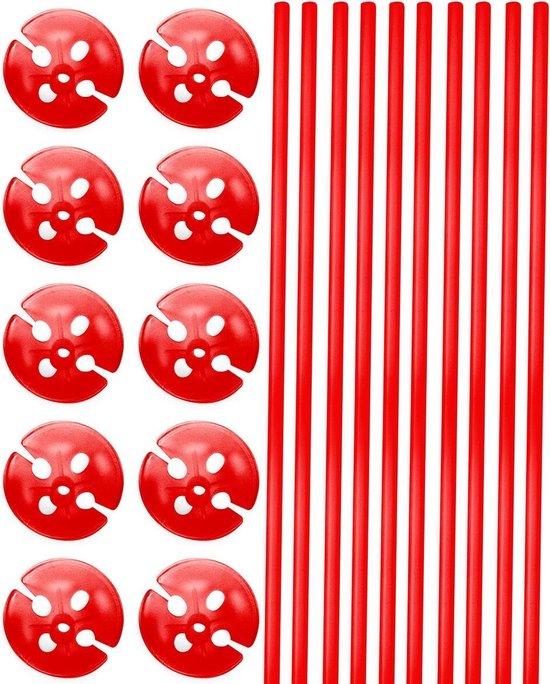 Rode Ballonstokjes met Houders - 10 stuks