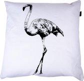 In The Mood Flamingo - Sierkussen - 50x50 cm - Ivoor Wit/Zwart