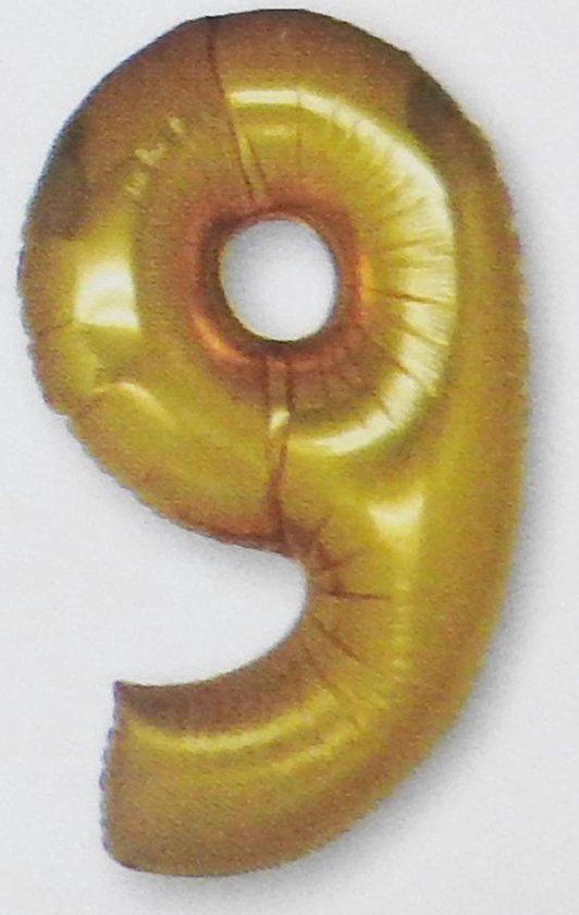 Folie ballon cijfer 9, goud +/- 92 cm