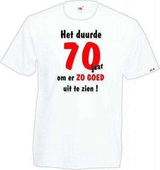 Mijncadeautje Heren leeftijd T-shirt Wit maat XL Het duurde 70 jaar om er zo goed uit te zien
