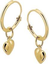 The Jewelry Collection oorringen 13 X 1,2 mm Hartje - Geelgoud (14 Krt.)