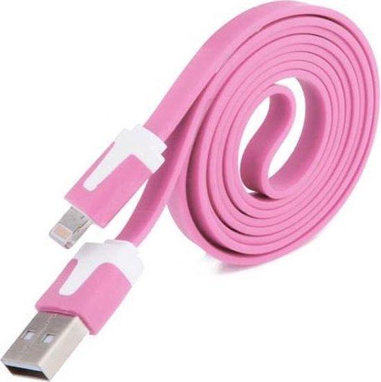 Datakabel 2 meter voor lightning Apple Roze Pink
