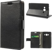 Litchi wallet hoesje Samsung Galaxy Ace 4 G357FZ zwart