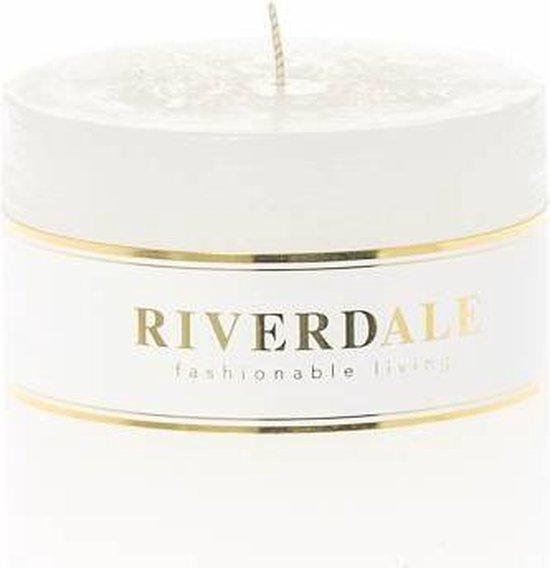Riverdale Kaars Pillar basic wit 9x9cm