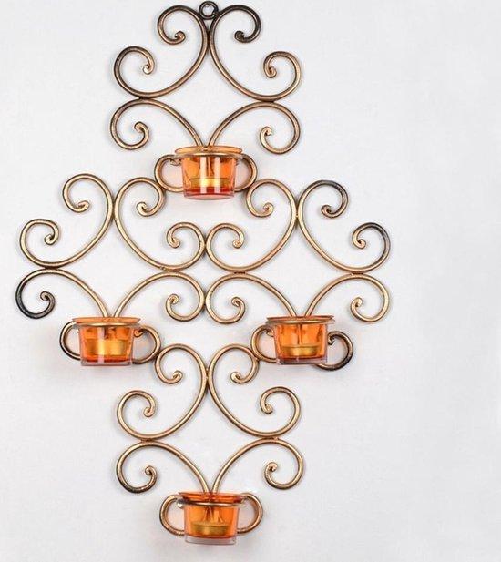 Metalen wandkandelaar met 4 waxinelichthouders, goud kleur - N3 Collecties
