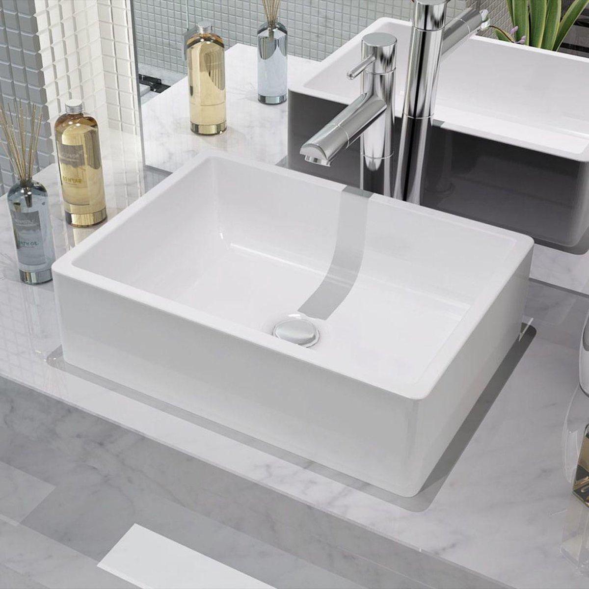 Wastafelbak waskom wasbak badkamer bak voor wastafel wit rechthoek